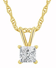 Certified Princess Cut Diamond Solitaire Pendant Necklace (1/2 ct. t.w.) in 14k White Gold or Yellow Gold