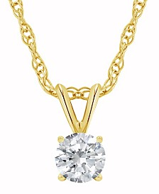 Certified Round Diamond Solitaire Pendant Necklace (1/2 ct. t.w.) in 14k White Gold or Yellow Gold