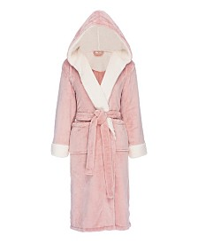 Hooded Sherpa Fleece Robe, Large