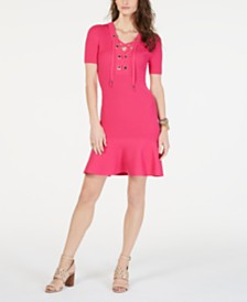 MICHAEL Michael Kors Lace-Up Ribbed-Knit Sweater Dress