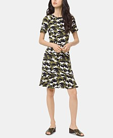 MICHAEL Michael Kors Camo-Print Flounce Dress