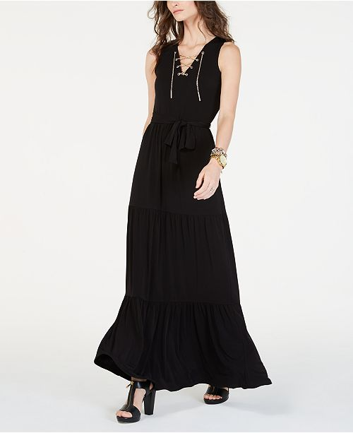 ad10c14a ... Michael Kors Chain Lace-Up Maxi Dress, In Regular & Petite Sizes ...