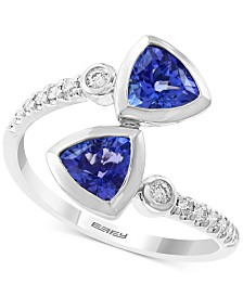 EFFY Tanzanite (1-3/8 ct. t.w.) and Diamond (1/6 ct. t.w.) Ring in 14K White Gold