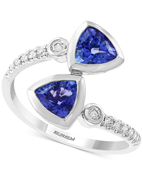 EFFY Collection EFFY® Tanzanite (1-3/8 ct. t.w.) and Diamond (1/6 ct. t.w.) Ring in 14K White Gold