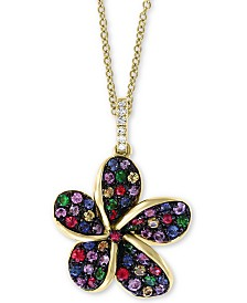 "EFFY Multi-Sapphire (3/4 ct. t.w.) Flower 18"" Pendant Necklace in 14k Gold, 18"""