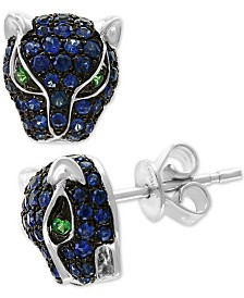 EFFY® Sapphire (3/4 ct .t.w.) and Tsavorite Accent Panther Stud Earrings in 14k White Gold