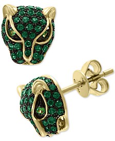 EFFY® Emerald (3/4 ct. t.w.) and Tsavorite Accent Panther Stud Earrings in 14k Gold