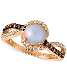 Le Vian® Neopolitan Opal (3/4 ct. t.w.), Vanilla Diamond (1/6 ct. t.w.), and Chocolate Diamond (1/5 ct. t. w.) Swirl Ring in 14k Rose Gold