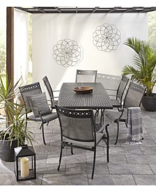 "Vintage II Outdoor Cast Aluminum 7-Pc. Dining Set (72"" x 38"" Table & 6 Sling Dining Chairs), Created for Macy's"
