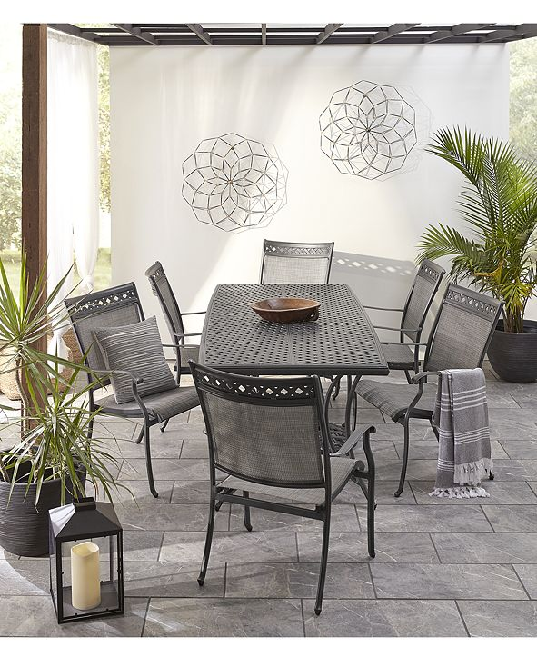 "Furniture Vintage II Outdoor Cast Aluminum 7-Pc. Dining Set (72"" x 38"" Table & 6 Sling Dining Chairs), Created for Macy's"