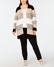 Calvin Klein Plus Size Colorblocked Open-Front Cardigan
