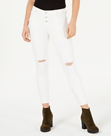 Vanilla Star Juniors' Ripped White Skinny Jeans