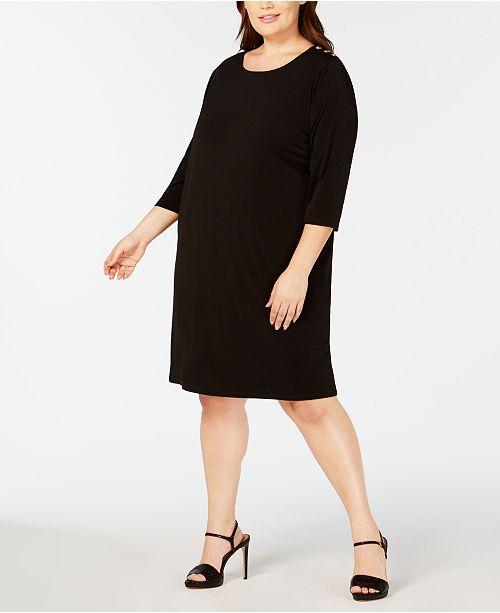 Calvin Klein Plus Size Hardware-Trim Shift Dress