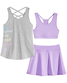 Ideology Big Girls Graphic-Print Tank Top, Cross-Back Sports Bra & Shiny Skort, Created for Macy's