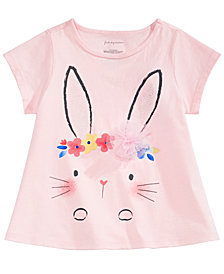 First Impressions Toddler Girls Floral Crown Bunny Graphic T-Shirt, Created for Macy's
