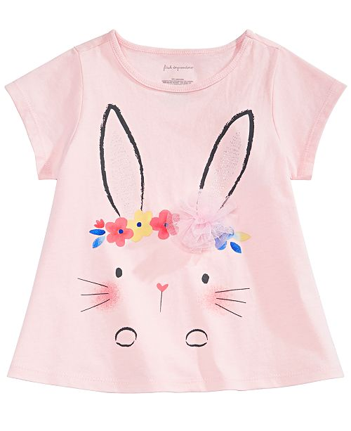 First Impressions Baby Girls Flower Crown Bunny Graphic T-Shirt, Created for Macy's