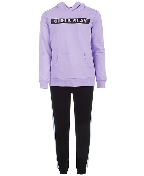 Ideology Big Girls Slay-Print Hoodie & Side-Stripe Jogger Pants, Created for Macy's