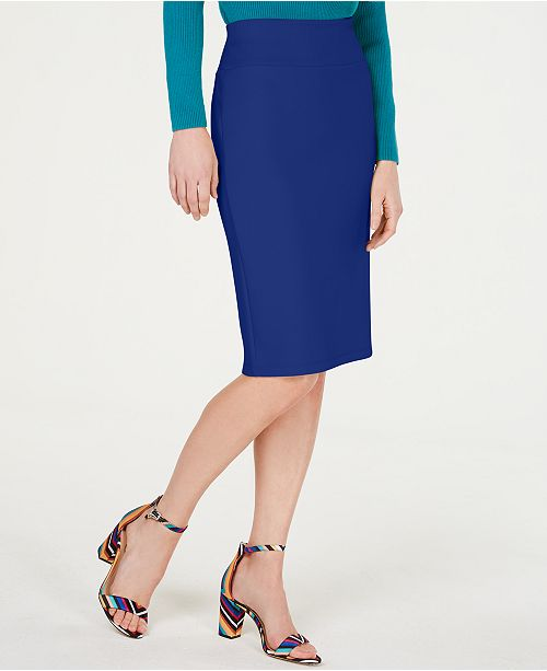 INC International Concepts I.N.C. Petite Solid Scuba Pencil Skirt, Created for Macy's