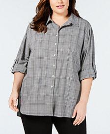 Calvin Klein Plus Size Glen Plaid Button-Up Tunic