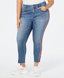 YSJ Plus Size Embellished Side-Striped Skinny Jeans