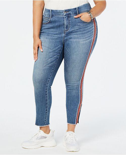 YSJ Plus Size Embellished Side-Striped Skinny Jeans