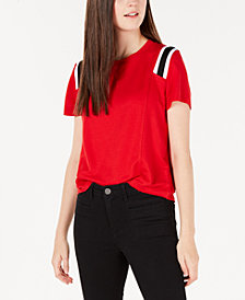 Freshman Juniors' Track-Stripe T-Shirt