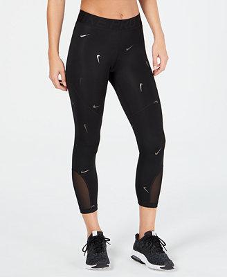 Metallic Logo Printed Cropped Leggings by Nike