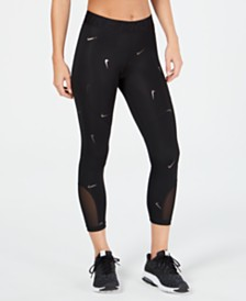 Nike Metallic Logo-Printed Cropped Leggings
