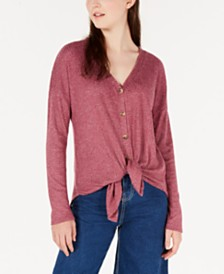 Hippie Rose Juniors' Solid Waffle Tie-Front Top