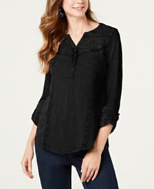Style & Co Petite Cotton Crochet-Trim Roll-Tab Top, Created for Macy's