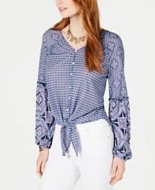Style & Co Mixed-Print Tie-Front Button-Up Top, Created for Macy's