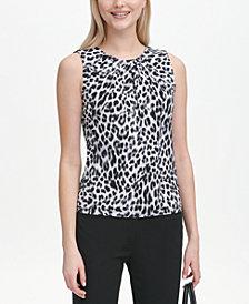 Calvin Klein Animal-Print Pleat-Neck Blouse