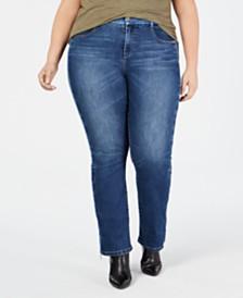 YSJ Plus Size Bootcut Zip-Hem Jeans