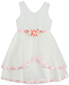 Rare Editions Big Girls Satin-Trim Fit & Flare Dress