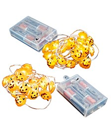 LumaBase Set of 2 Jack Lantern Mini String Lights with Timer