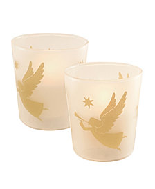 LumaBase Set of 2 Gold Angel Glass Battery Operated LED Candles