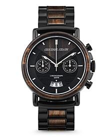 Mens Ebony Wood Chronograph, Black Stainless Steel 44mm Watch