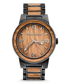 Mens Hawaiian Koa Wood Paired With Stonewashed Steel 47mm Watch