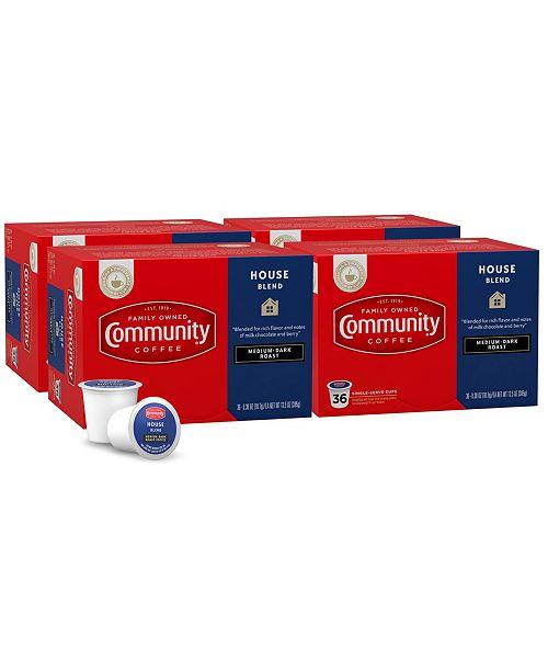 Community Coffee House Blend Medium-Dark Roast Single Serve Pods, Keurig K-Cup Brewer Compatible, 144 Ct