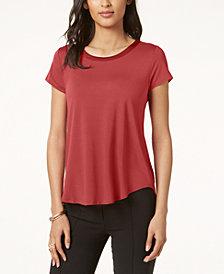 Alfani Satin-Trim High-Low T-Shirt, Created for Macy's
