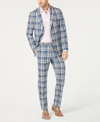 Men's Classic-Fit Blue Plaid Madras Dress Pants