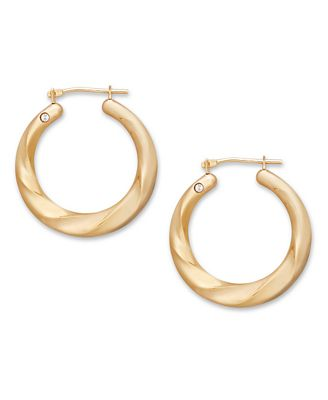 Signature Gold™ Diamond Accent Round Twist Hoop Earrings in 14k Gold over Resin