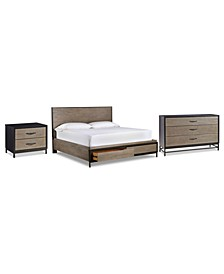 Avery Brown Storage Bedroom 3-Pc. Set (Queen Bed, Dresser & Nightstand)