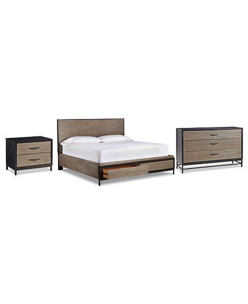 Furniture Avery Brown Storage Bedroom Furniture, 3-Pc. Set (Queen Bed, Dresser & Nightstand)