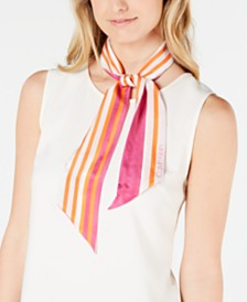 Calvin Klein 2-for-1 Silk Striped Scarf