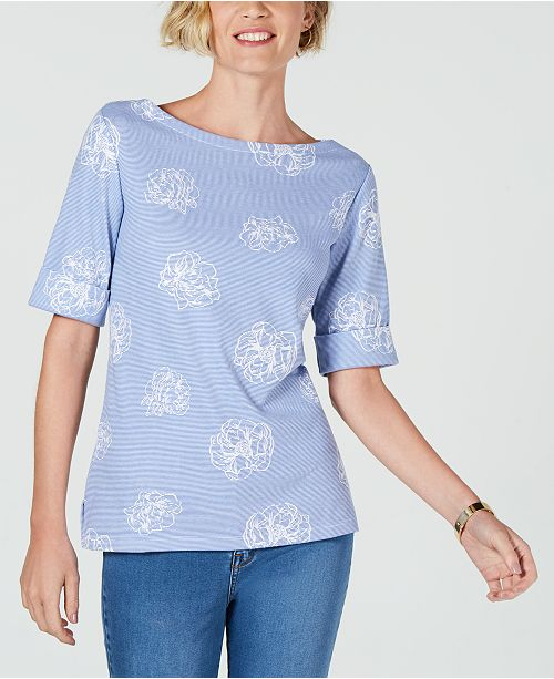 Karen Scott Petite Floral Micro-Striped Boat-Neck Top, Created for Macy's