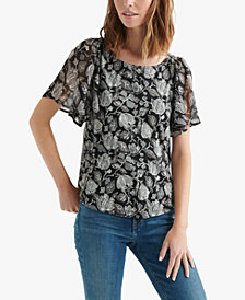 Lucky Brand Open-Back Printed Top