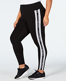 Calvin Klein Performance Plus Size High-Rise Striped Leggings