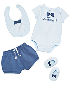 First Impressions Baby Boys Mr. Wonderful Bodysuit, Bib, Shorts & Booties Separates, Created for Macy's