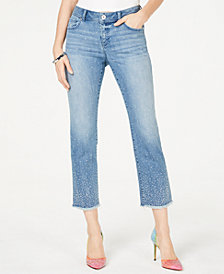 I.N.C. Allover Studded Straight-Leg Ankle Jeans, Created for Macy's